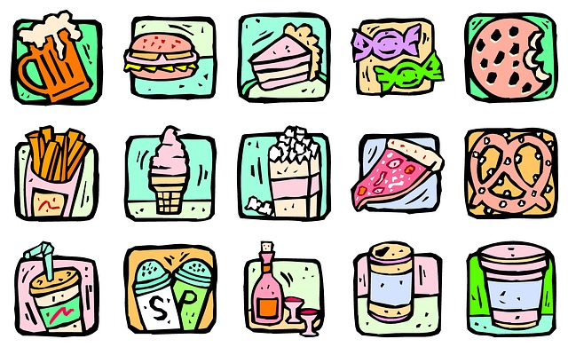 drobné obrázky nezdravých potravin
